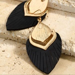 Black Vegan leather and gold earrings